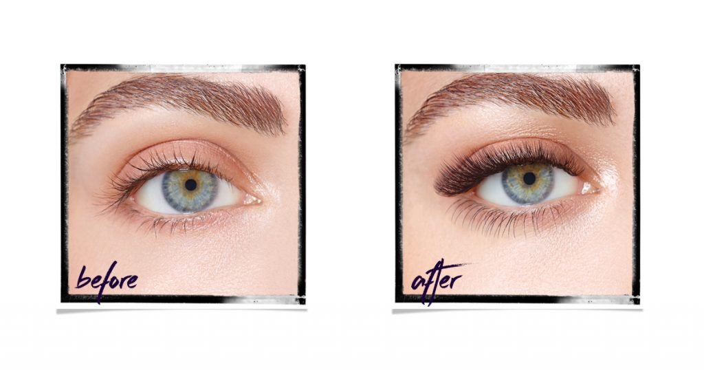 Extend Individual Lash Extensions before and after