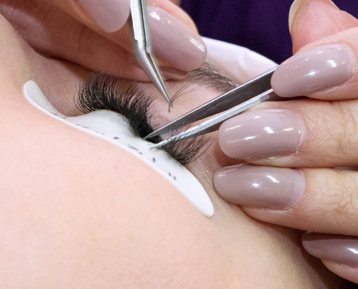 Volume treatment with fanned lashes close up