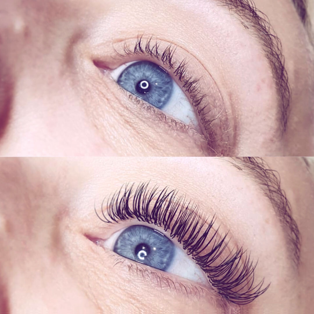 Individual eyelash extensions before and after
