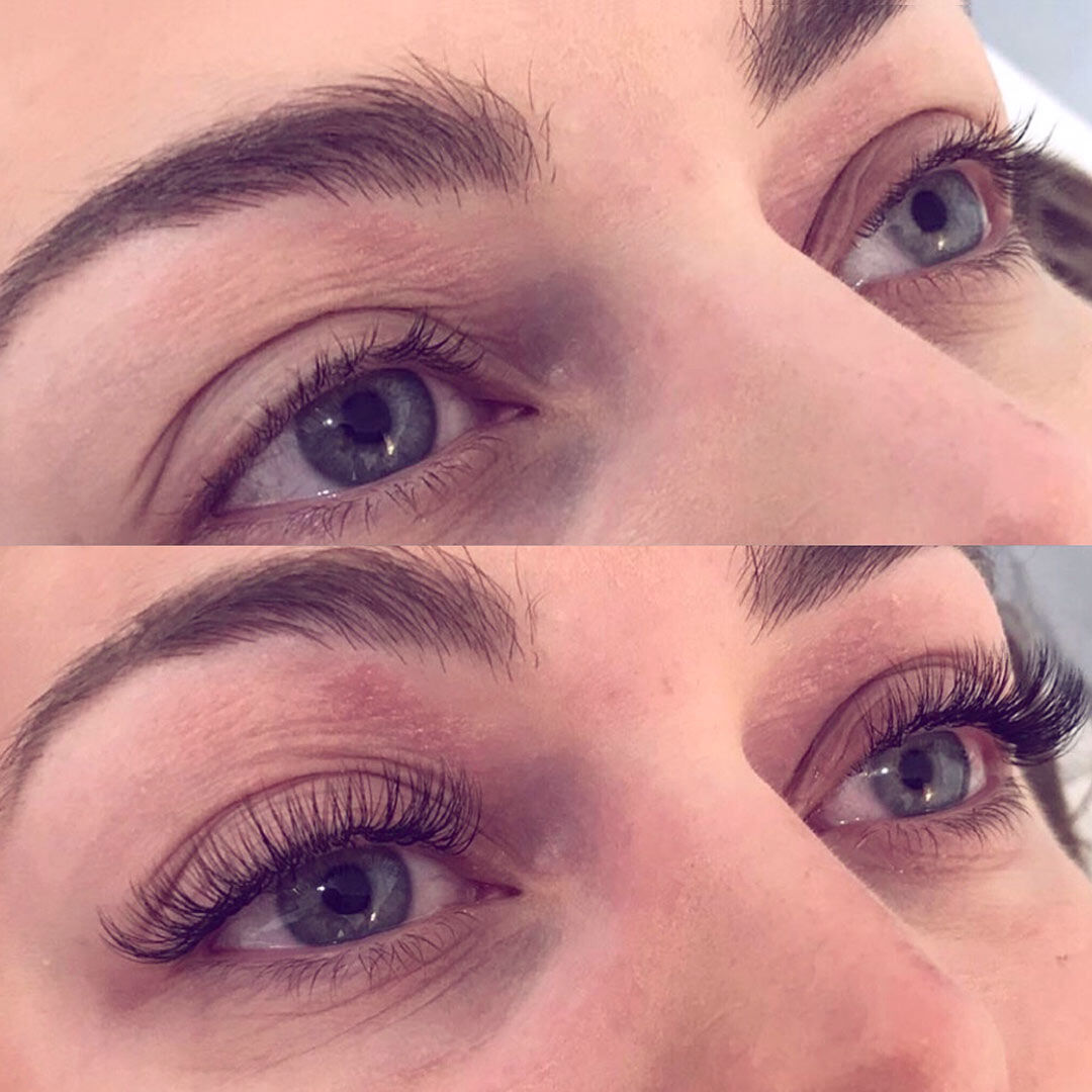 Extend lash extensions before and after