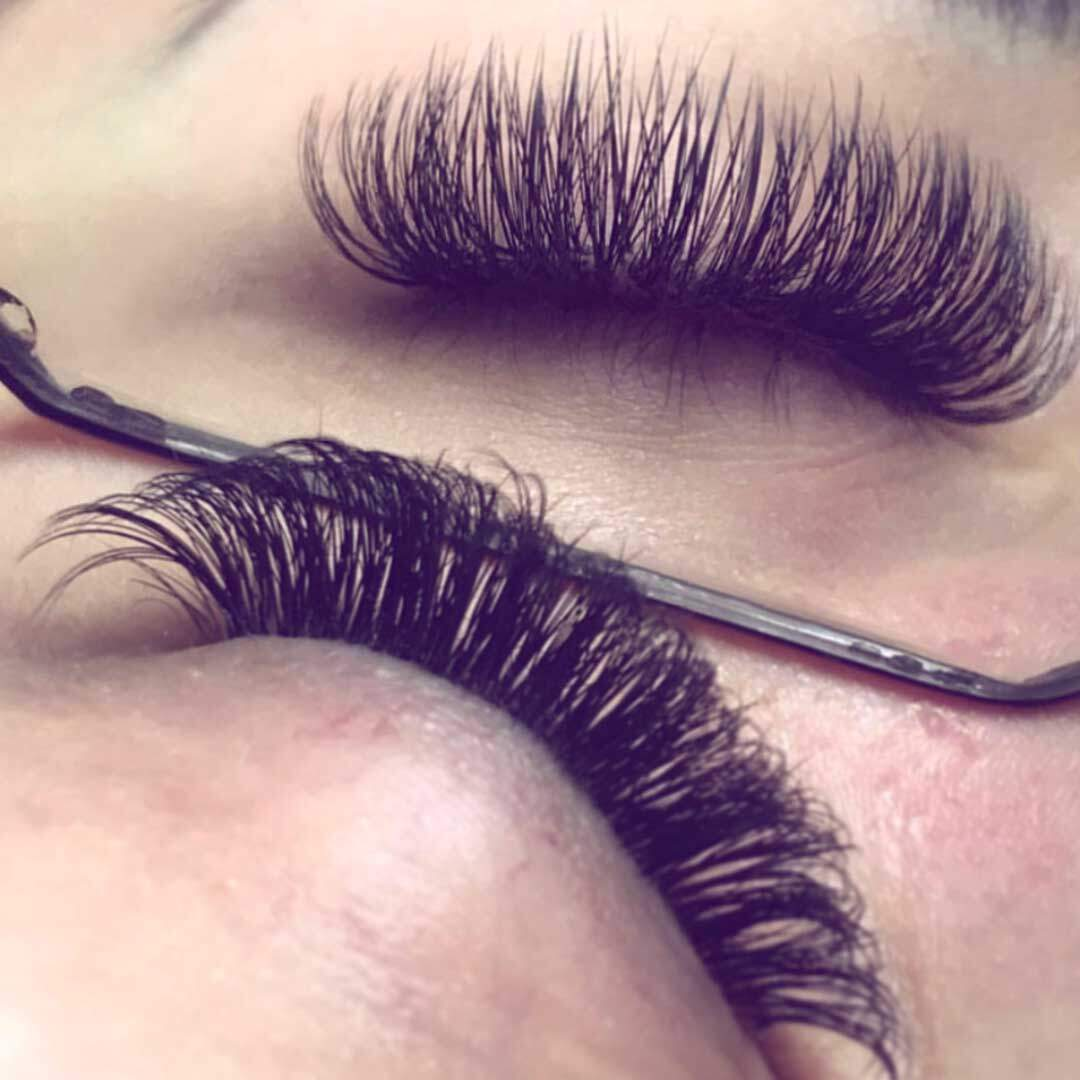 Russian Volume Lashes before and after